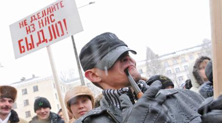 Акция протеста против закрытия заводов в Пикалево. Фото: ИТАР-ТАСС