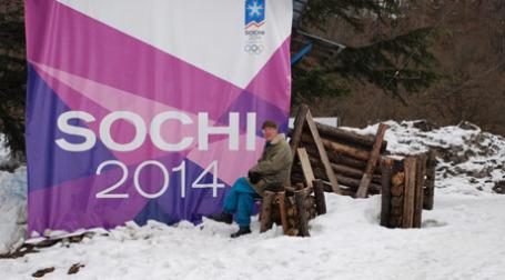 Олимпийский плакат в поселке Красная Поляна. Фото: ИТАР-ТАСС
