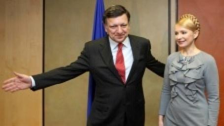 Президент Еврокомиссии Жозе Мануель Баррозу и Юлия Тимошенко на конференции в Брюсселе. Фото: AFP