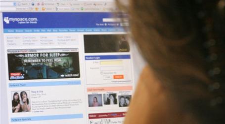 Открытая web-страница сети Myspace в интернете. Фото: AFP