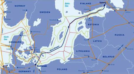 Планируемая линия прохождения газопровода Nord Stream. Иллюстрация: eegas.com