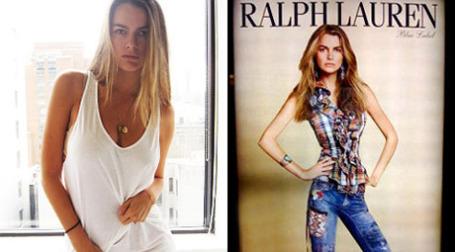 Филиппа Гамильтон в жизни и в обработке для рекламы Ralph Lauren. Фото: theblemish.com