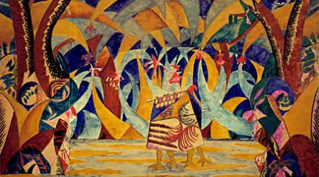 М.Ф.Ларионов  Лес. Эскиз декорации к балету «Русские сказки». 1916.  Бумага, акварель, графитный карандаш. 45,5 x 70. ГТГ