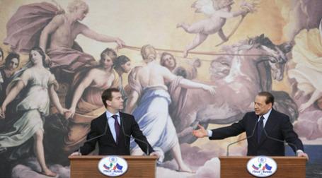 Дмитрий Медведев и Сильвио Берлускони. Фото: РИА Новости