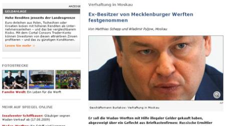 Сайт SPIEGEL ONLINE показал Андрея Бурлакова с неприглядной стороны. Изображение: SPIEGEL ONLINE
