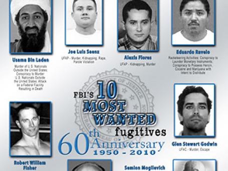 В нынешнем, юбилейном, списке ФБР фигурируют, в частности, главарь Аль-Каиды Усама Бен Ладен и гражданин Украины Семен Могилевич. Фото: fbi.gov