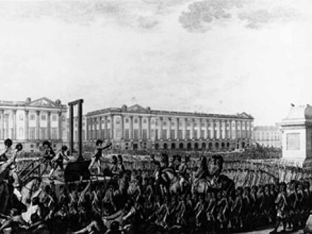 До того, как парижская площадь Согласия обрела свое нынешнее имя, на ней стояла гильотина. Гравюра с изображением казни Людовика XVI