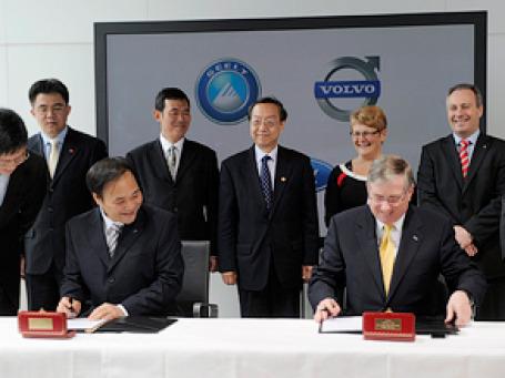 Церемония подписания соглашения о продаже Volvo состоялась в штаб-квартире шведской компании в Гетеборге в воскресенье. Фото: AP