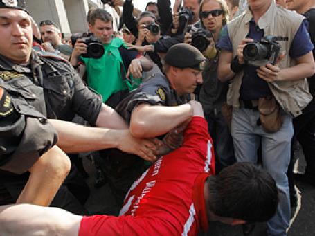 «Захват пленных»  в центре Москвы. Фото: РИА Новости