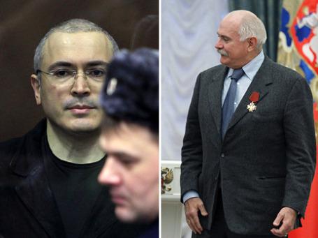 Михаил Ходорковский в бронированной клетке выслушал приговор: 14 лет тюрьмы; Никита Михалков в Кремле получил очередную награду.  Фото: РИА Новости (2)
