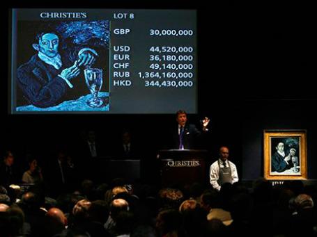 «Портрет Анхеля Фернандеса де Сото» Пабло Пикассо, который в итоге продан за £ 34761250 ($ 51585695, 41922068 евро). Фото: AP