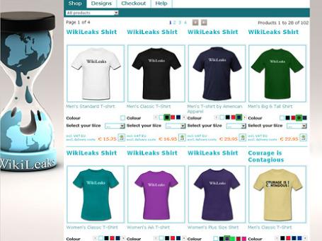 Сувениры от WikiLeaks доступны во многих странах, но не в России. Фото экрана сайта officialwikileakseu.spreadshirt.co.uk