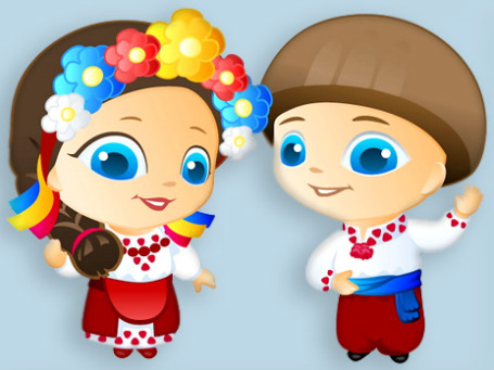 Персонажи, представляющие собой бренд «Украина», — это мальчик и девочка по имени Спрытко (спорый, быстрый) и Гарнюня (красавица). Фото: brandukraine.org