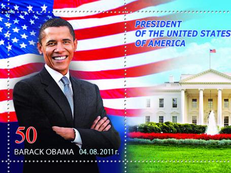 К юбилею Барака Обамы Почта России выпустила сувенирный набор виньеток и конвертов с изображением президента США. Фото: russianpost.ru