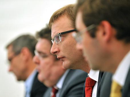 Председатель правления РТС Роман Горюнов и президент ММВБ Рубен Аганбегян. Фото: ИТАР-ТАСС