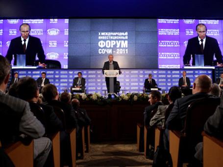 Премьер-министр России Владимир Путин на Международном инвестиционном форуме в Сочи.Фото: РИА Новости