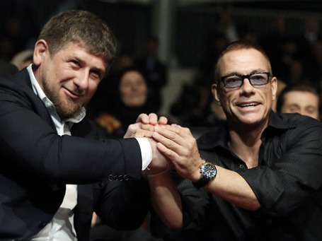 Рамзан Кадыров и Жан-Клод Ван Дамм на открытии комплекса высотных зданий «Грозный-Сити». Фото: РИА Новости