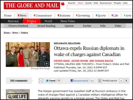 На снимке, опубликованном в газете The Globe and Mail, подполковник Дмитрий Федорчатенко (крайний слева), который, по утверждению издания, был выслан из Оттавы. Фото экрана сайта theglobeandmail.com