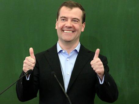 Дмитрий Медведев в День российского студенчества провел встречу со студентами факультета журналистики МГУ. Фото: РИА Новости
