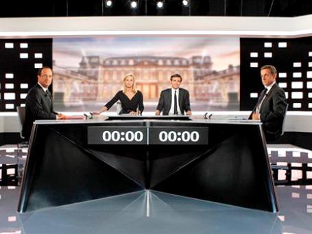 Три часа агрессивных теледебатов не выявили явного лидера в президентской гонке во Франции. Фото: АР