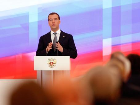 За три недели до поездки в Кэмп-Дэвид Дмитрий Медведев подвел на Госсовете в Кремле итоги своего президентства. Фото: AP