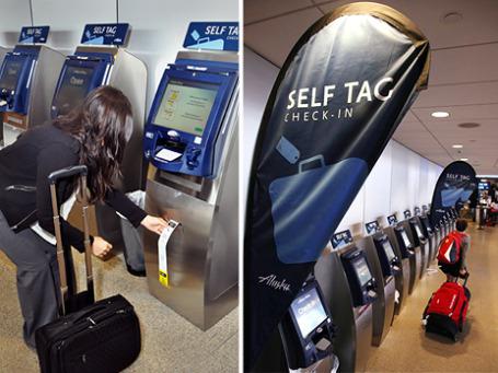 Компания Alaska Airlines одной из первых в США ввела самостоятельнаую маркировку и регистрацию багажа пассажирами. Фото: alaskasworld.com, AP