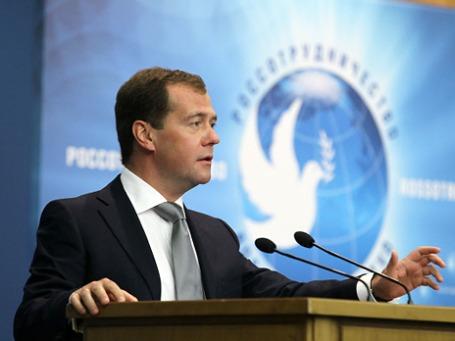 Премьер Дмитрий Медведев: «Немало примеров, когда проекты с российским участием … тормозились только потому, что их настороженно воспринимала общественность тех или иных государств».Фото: РИА Новости