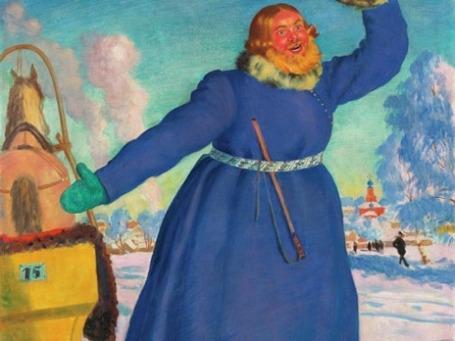 Репродукция картины Б. Кустодиева «Извозчик». Подлинник из коллекции Петра Капицы был продан на аукционе за 7 млн. долларов