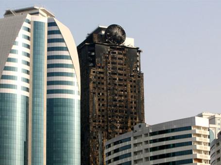 Высотное здание комплекса «Грозный-сити» после ликвидации пожара. Фото: РИА Новости