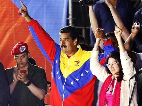 Президент Венесуэлы Николас Мадуро со своей женой радуются победе на выборах. Фото: Reuters