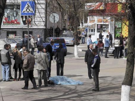 Полиция на месте массового убийства  в Белгороде. Фото: Reuters