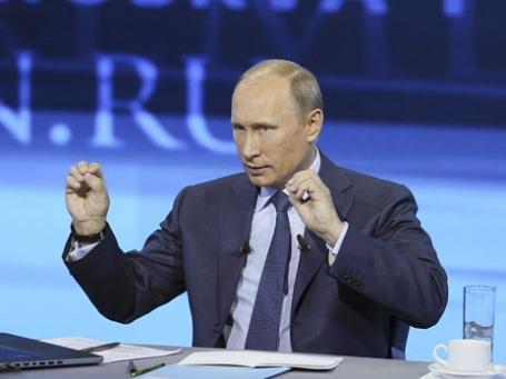 Владимир Путин во время прямой линии. Фото: Reuters