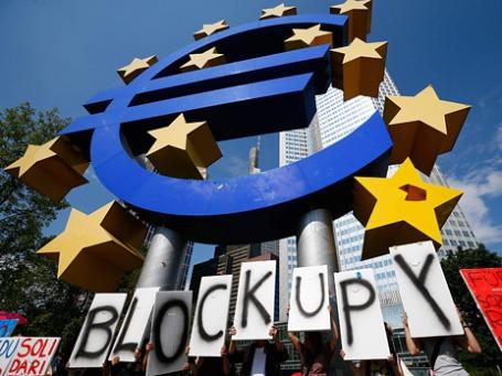 Акция протеста у здания ЕЦБ во Франкфурте. Фото: Reuters