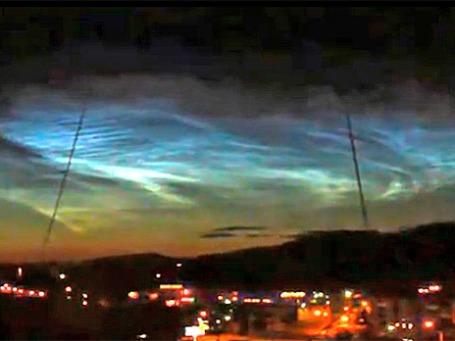 Северное сияние в небе над Челябинском и и близлежащих городов. Кадр из видеоролика Youtube