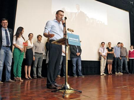 Кандидат на пост мэра Москвы Алексей Навальный представляет свою предвыборную программу.  Фото: Reuters