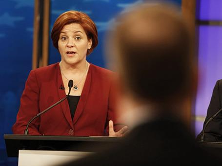 Кандидат на пост мэра Нью-Йорка Кристин Куинн во время дебатов на телевидении. Фото: Reuters