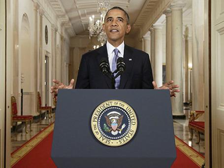 Президент США Барак Обама во время обращения к нации по поводу ситуации в Сирии. Фото: Reuters