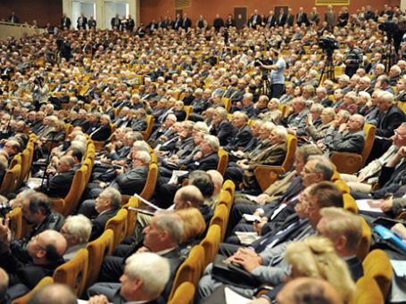 Академики РАН на внеочередном общем собрании Российской академии наук. Фото: РИА Новости