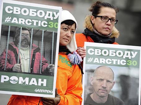Акция в поддержку членов экипажа судна «Гринпис» Arctic Sunrise. Фото: ИТАР-ТАСС