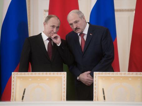 Президент РФ Владимир Путин  и президент Республики Беларусь Александр Лукашенко. Фото: РИА Новости