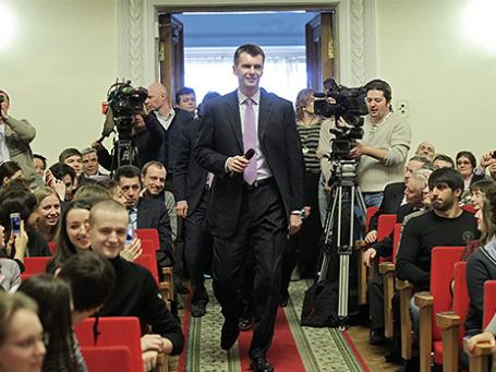 Михаил Прохоров во время посещения Финансового университета при правительстве РФ. Фото: ИТАР-ТАСС