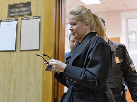 Евгения Васильева после заседания Хамовнического суда города Москвы 20 сентября 2013 года. Фото: РИА Новости