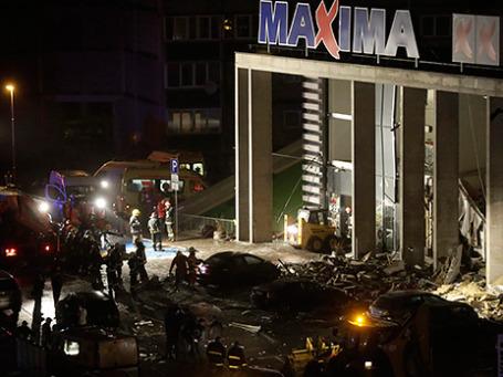 Торговый центр Maxima на улице Приедайнес в Риге, в котором произошло обрушение крыши. Фото: Reuters