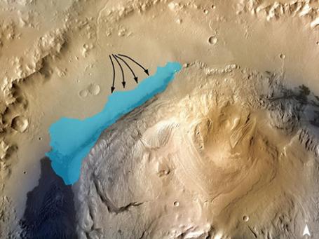 Иллюстрация, показывающая возможные контуры озера в кратере Гейла на Марсе. Фотография получена с помощью орбитальной станции Mars Reconnaissance Orbiter. Фото: NASA
