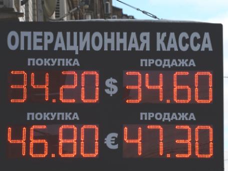 Табло обмена валюты одного из банков на улице Москвы. Фото: РИА Новости