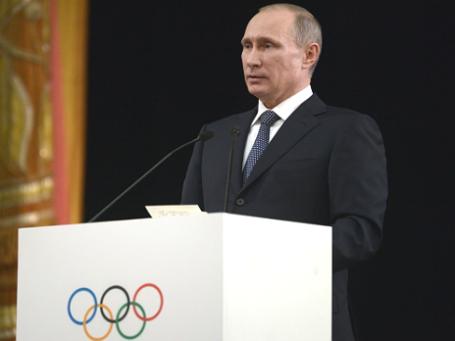 Президент РФ Владимир Путин выступает на открытии 126-й сессии Международного олимпийского комитета в Сочи.  Фото: РИА Новости
