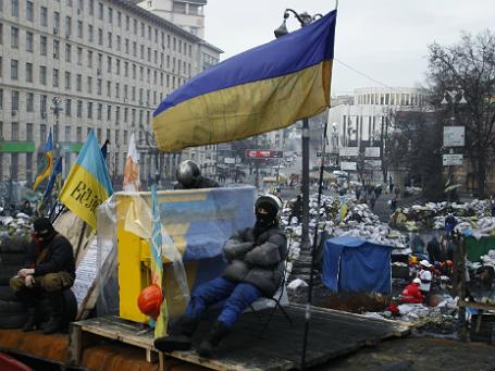 Фото: Reuters. Антиправительственная акция протеста. Киев, 14 февраля 2014 года.