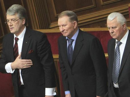 Экс-президенты Украины Виктор Ющенко, Леонид Кучма и Леонид Кравчук (слева направо). Фото: РИА Новости