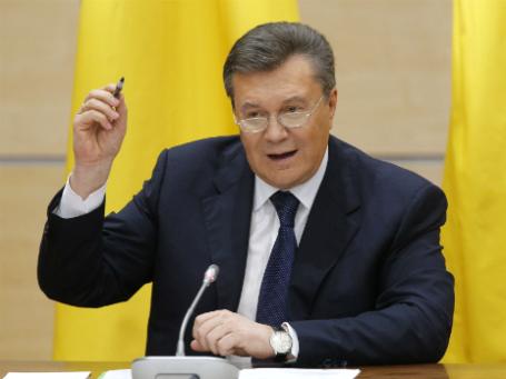 Виктор Янукович на пресс-конференции в Ростове-на-Дону. Фото: Reuters