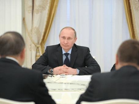 Президент РФ Владимир Путин во время встречи с генеральным секретарем ООН Пан Ги Муном в Кремле 20 марта 2014 года. Фото: РИА Новости.